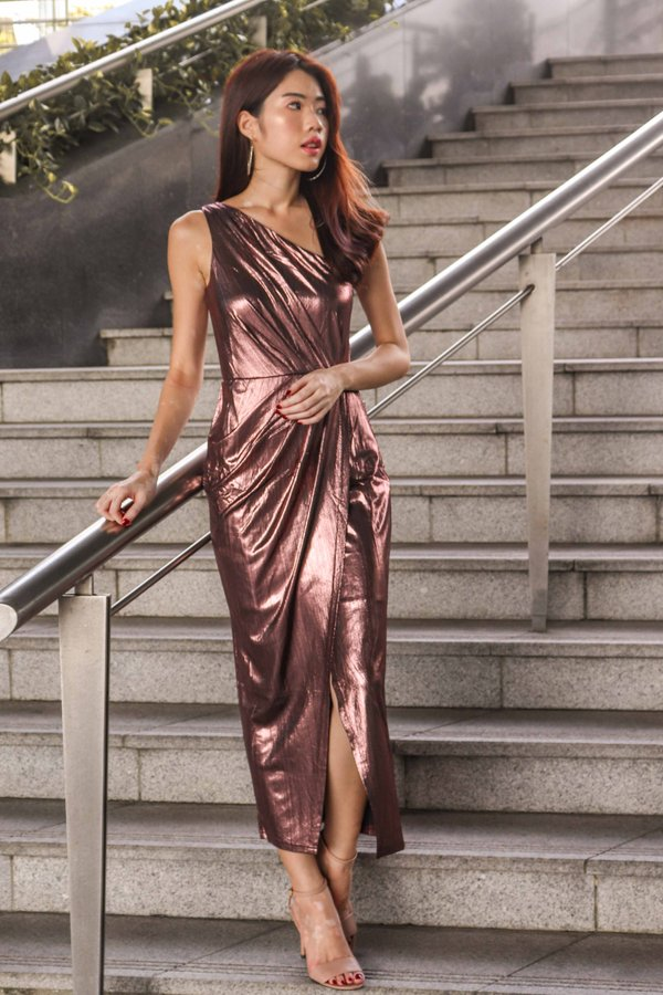 Gwen Gala Dress In Rose Gold