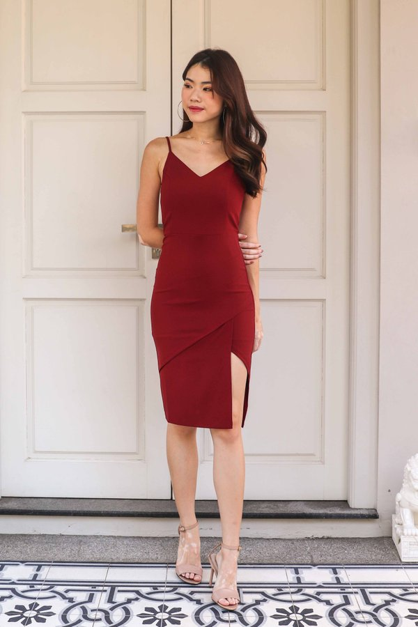 Novah Side Slit Dress in Maroon