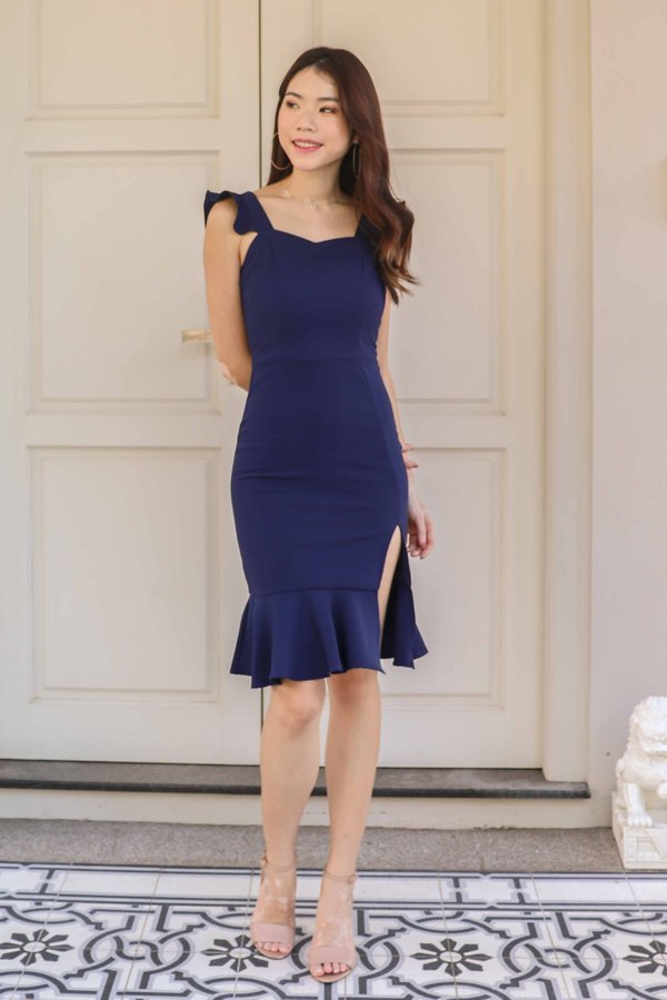 Mika Ruffle Dress in Navy