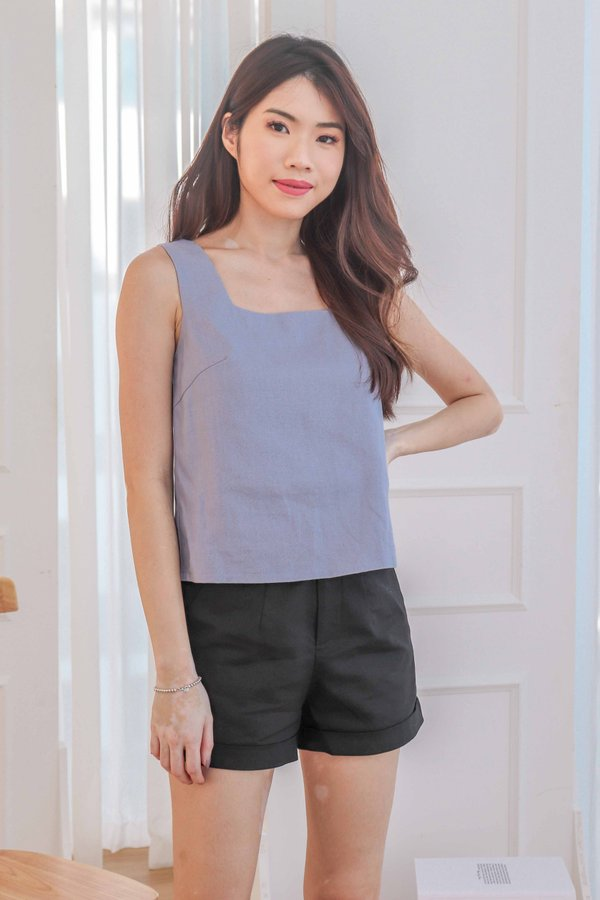 Shin 2 Way Linen Top in Periwinkle
