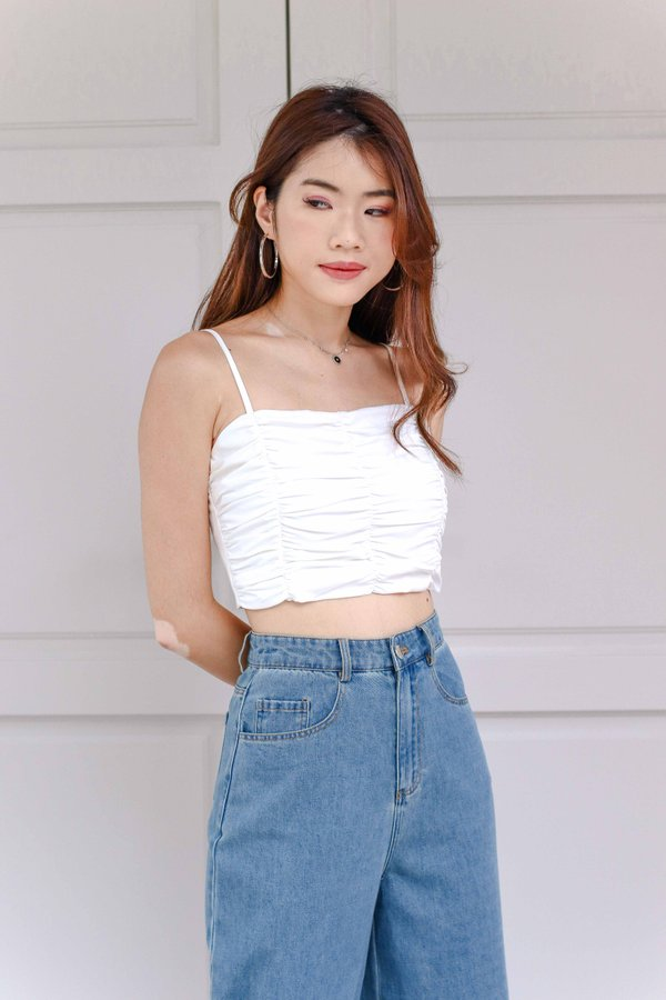 Delaney Ruched Crop Top in White
