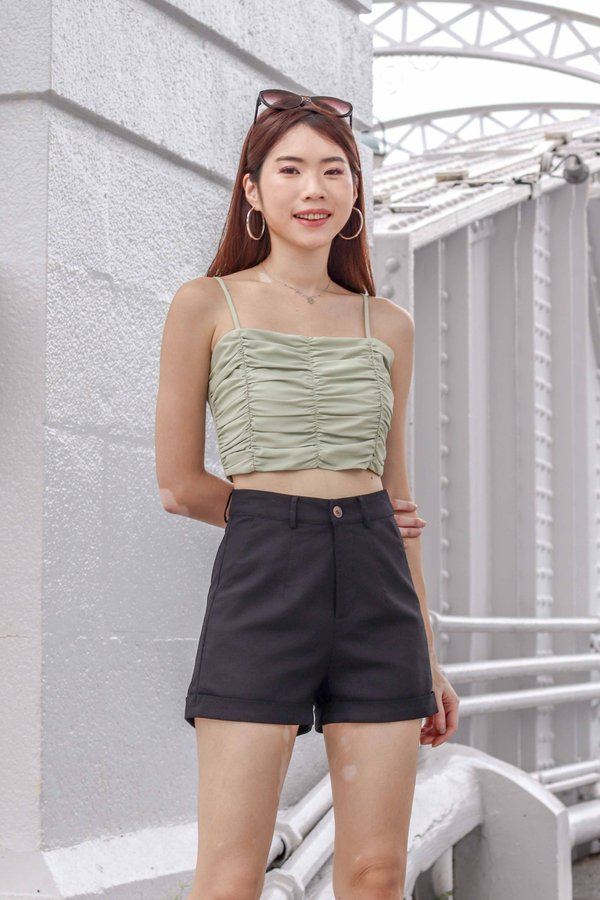 Delaney Ruched Crop Top in Sage