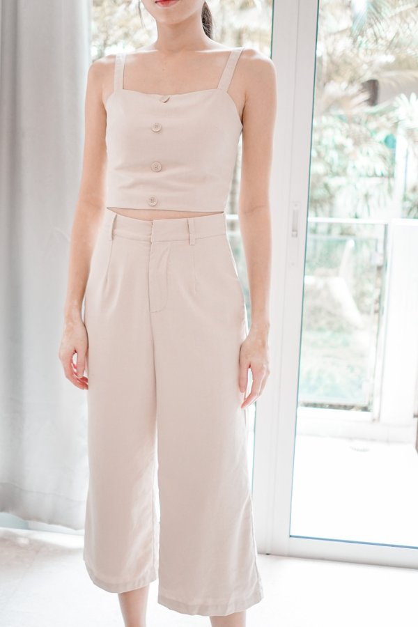 Separate Molo Linen Crop Top in Sand