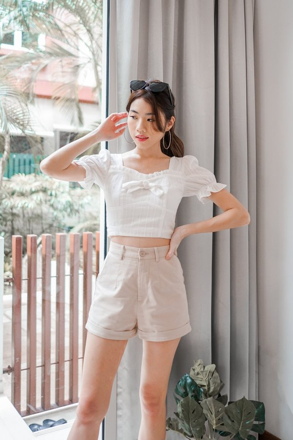 Hailey Ribbon Top in White