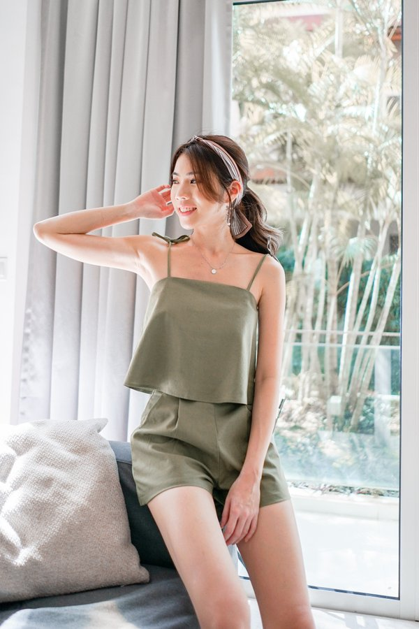 Bena Tie String Linen Crop Top in Olive