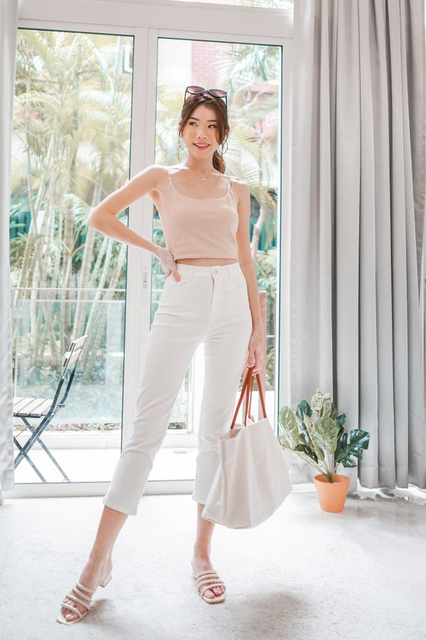 Alies Thin Strap Padded Crop Top in Nude