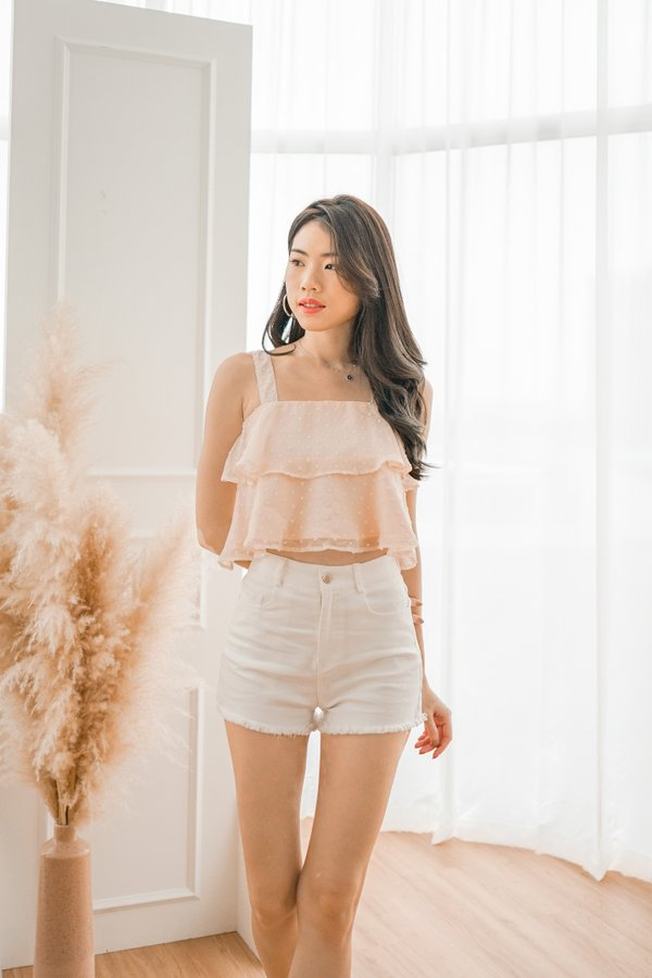 Penny Swiss Dot Crop Top in Peach