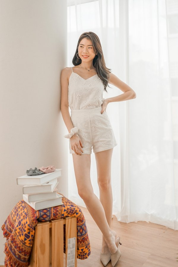 Melly 2 Way Top Eyelet Shorts in White