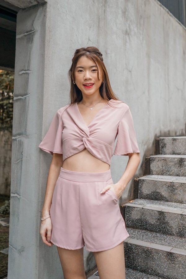 Fiona Knotted Top in Dusty Pink