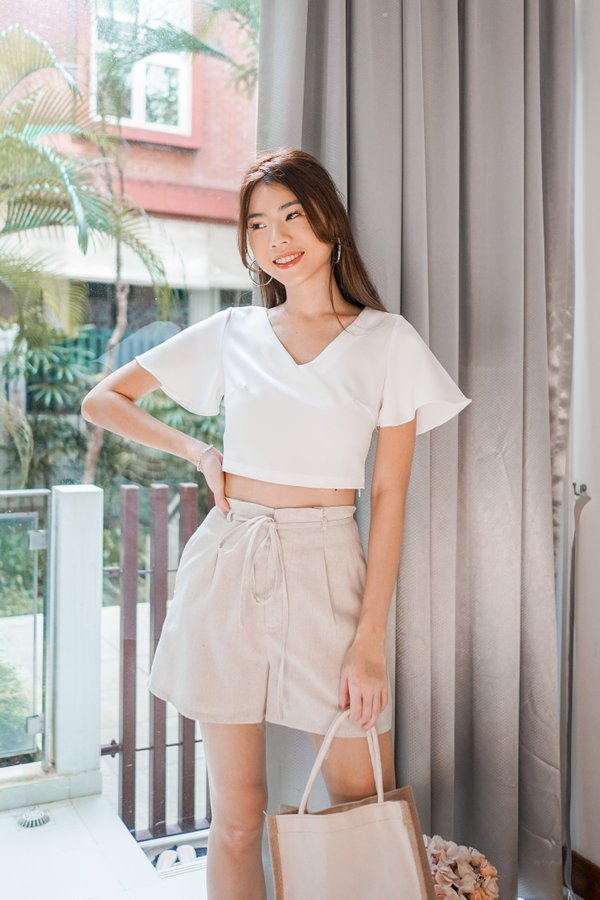 Lisse Flutter Sleeve Crop Top in White