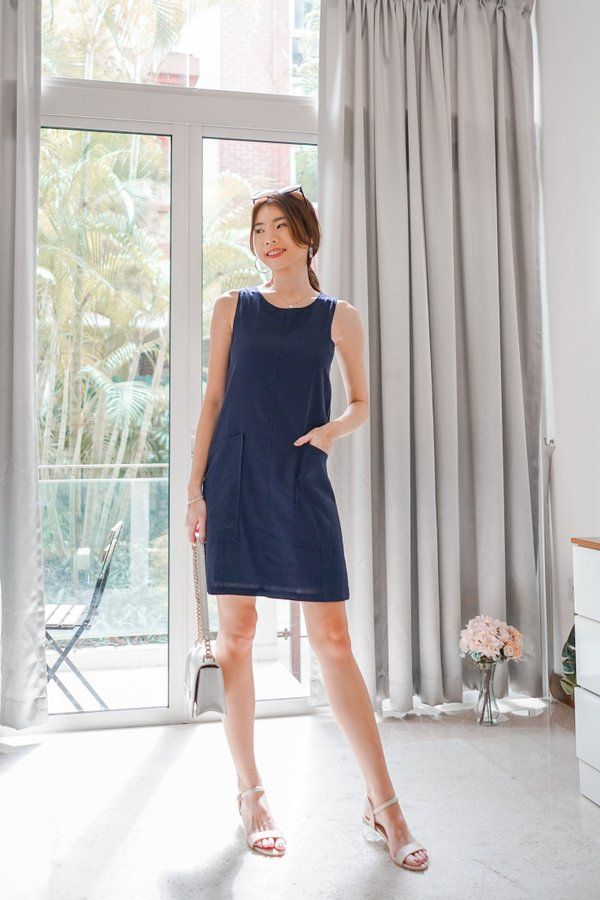 Odessa Shift Dress in Navy