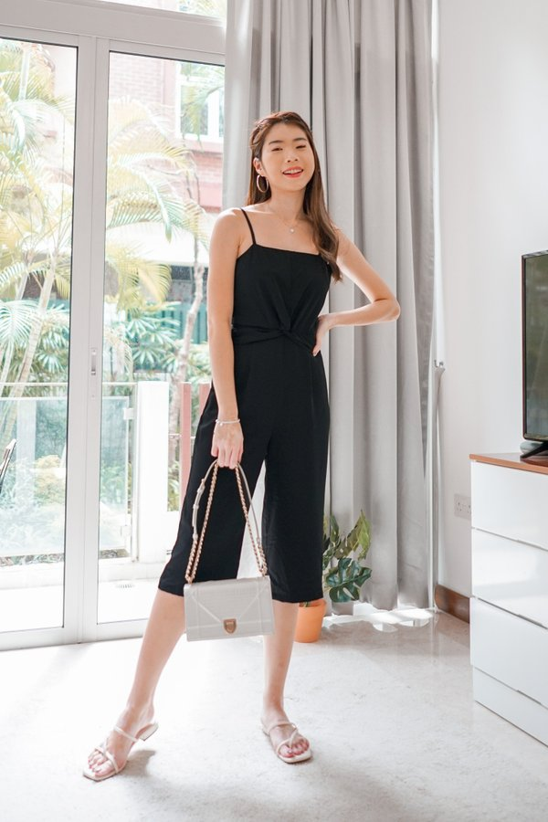 Sally Knotted Jumpsuit in Black