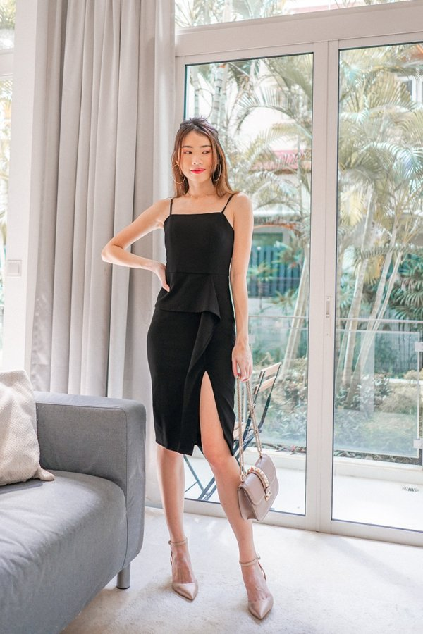 Brenda Ruffles Slit Dress in Black