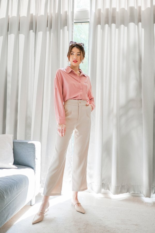 Raelyn Roll Up Button Shirt in Pink