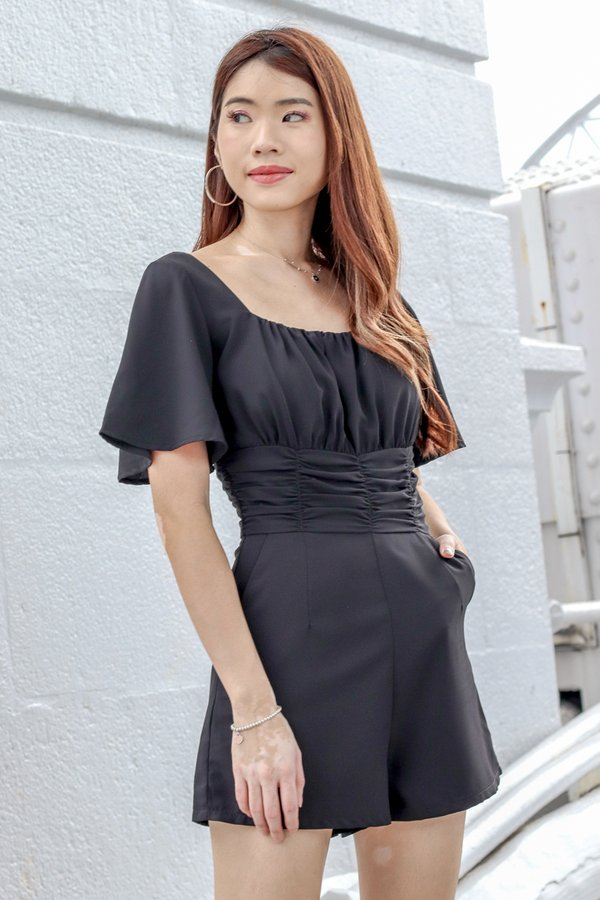 Stella Ruched Romper in Black