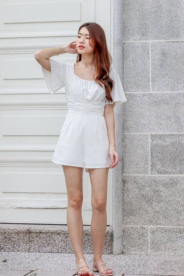 Stella Ruched Romper in White