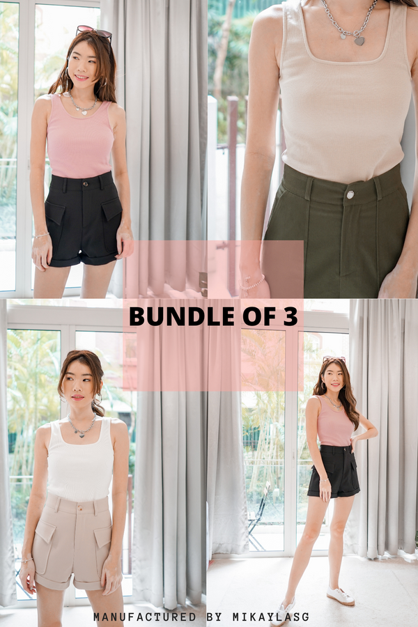 Bundle of Sarah 2-Way Ribbed Top in 3 Colours