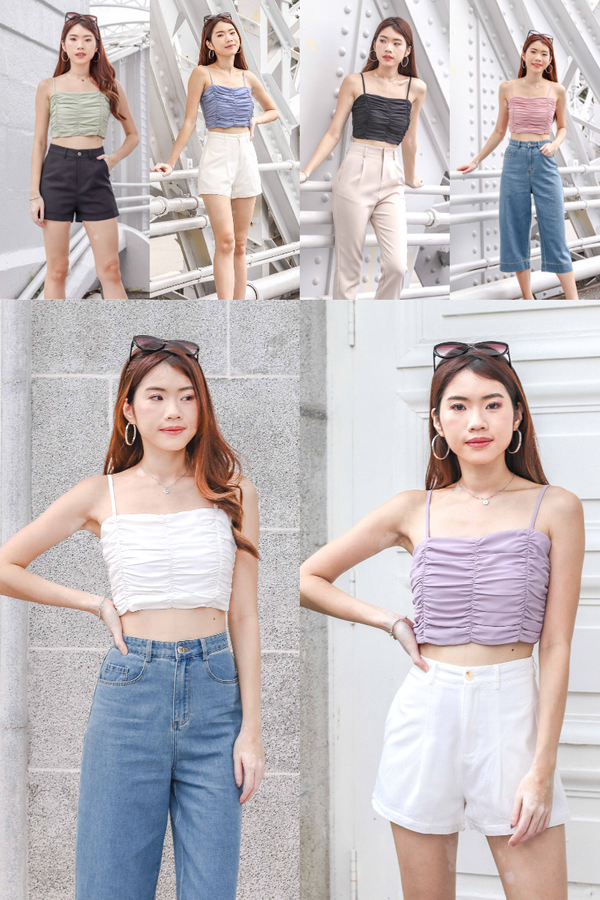 Bundle of Delaney Ruched Crop Top in 6 Colours