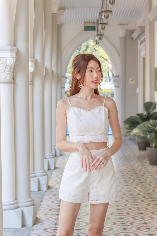 Faith Eyelet Crop Top in White