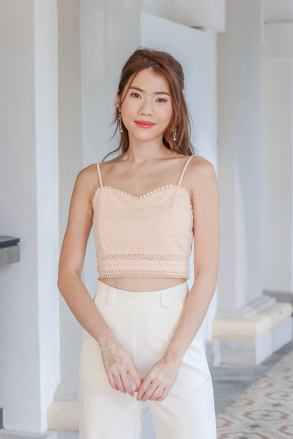 Faith Eyelet Crop Top in Peach