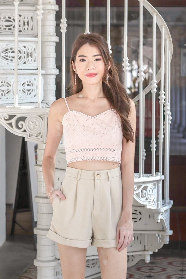 Faith Eyelet Crop Top in Cherry Blossom Pink