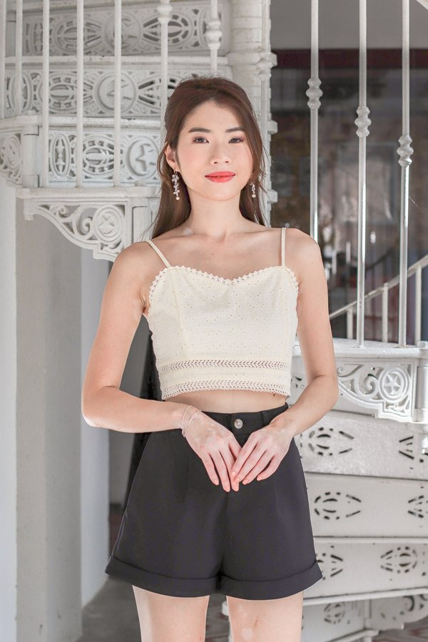 Faith Eyelet Crop Top in Buttermilk
