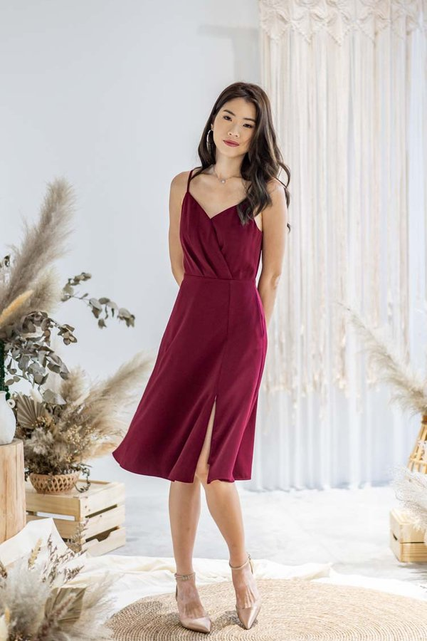 Karter Dress in Wine Red