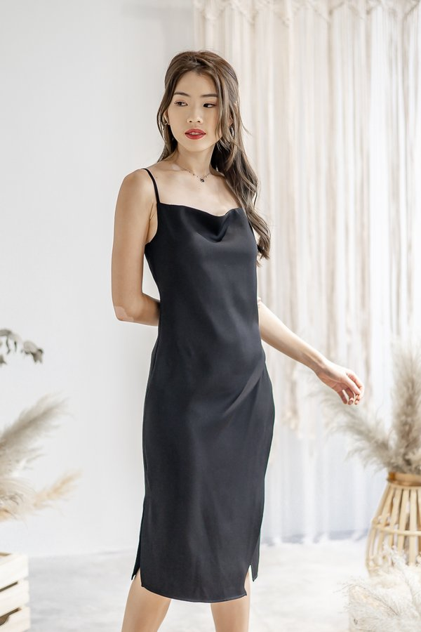 Willow Cowl Neck Dress in Black