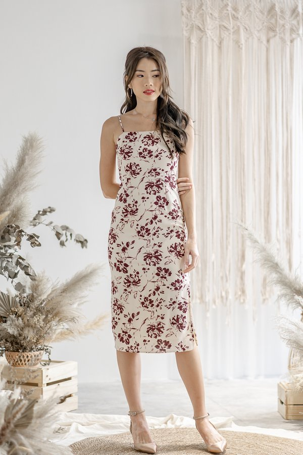 Rylee Floral Print Dress in Cream