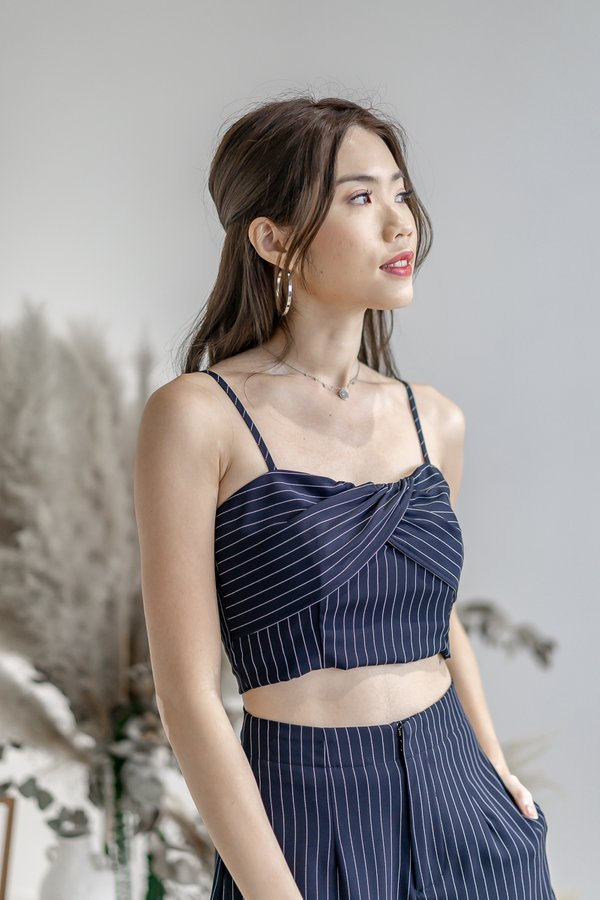 Cara Padded Crop Top in Navy