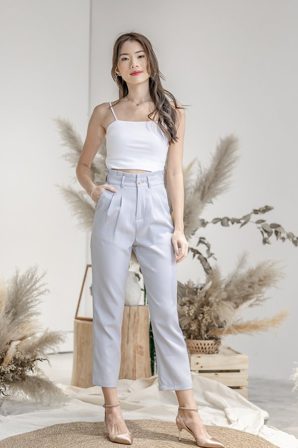Isabelle Paper Bag Pants in Greyish Blue