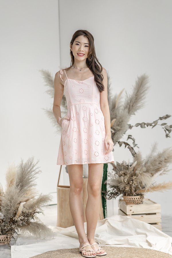 Milli Eyelet Dress in Peachy Pink
