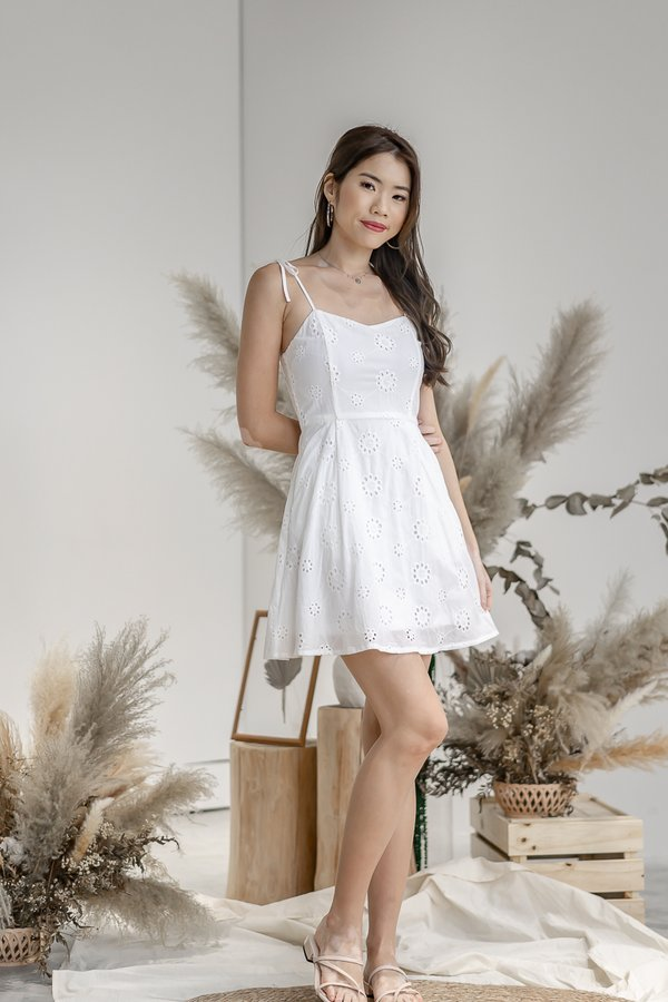 Milli Eyelet Dress in White