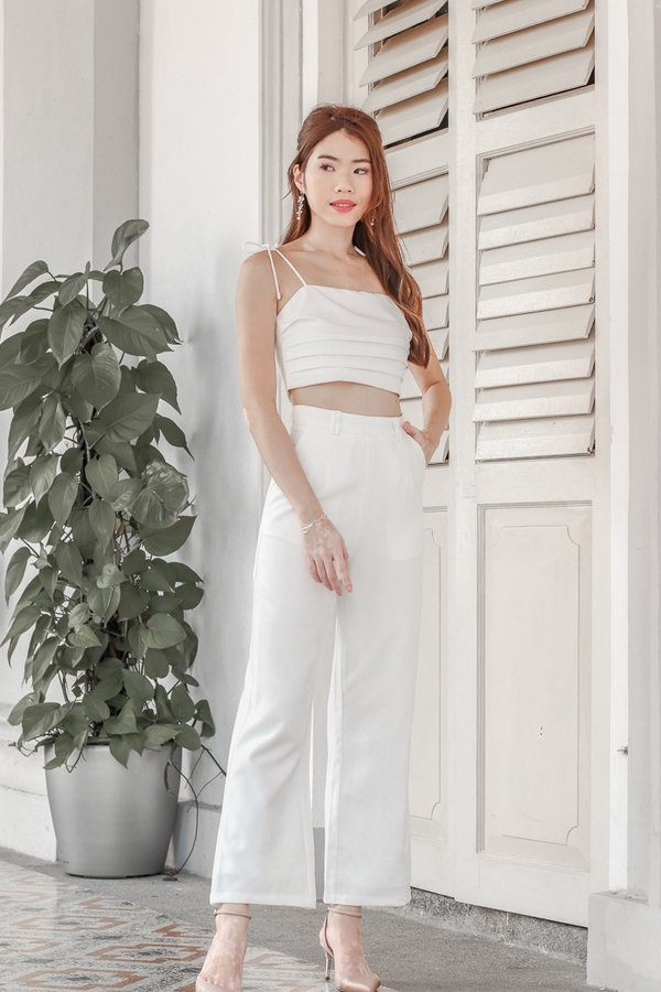 Mackenzie Tie String Top 2 Piece Set in White