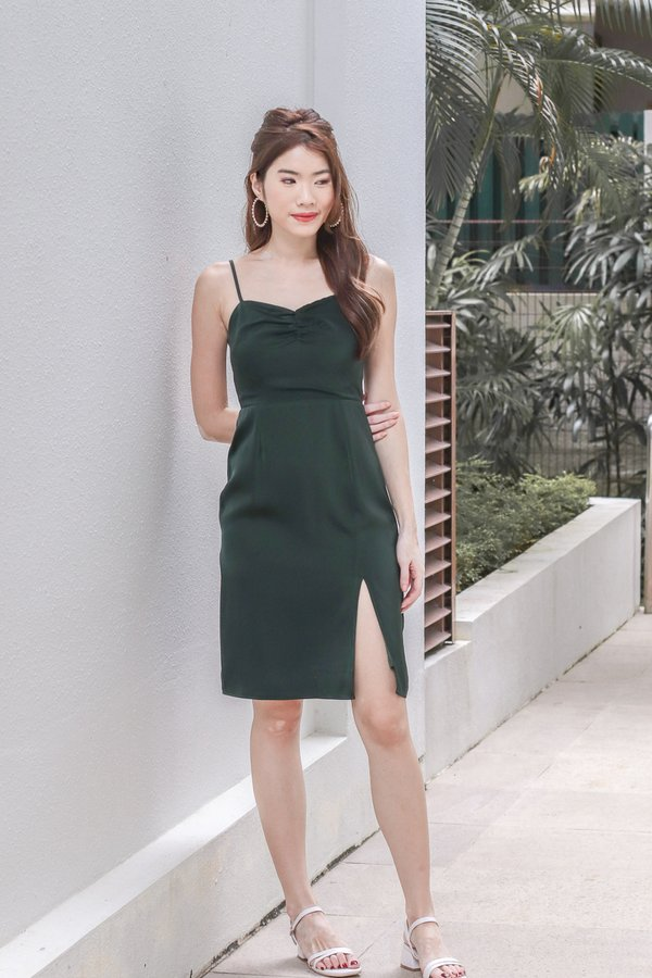 Aranda Satin Slit Dress in Forest Green