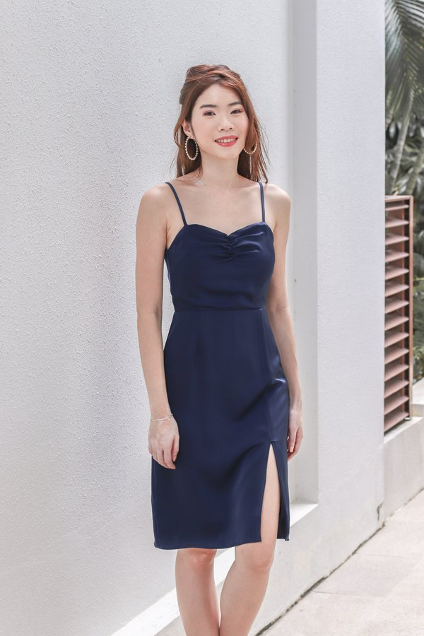 Aranda Satin Slit Dress in Navy