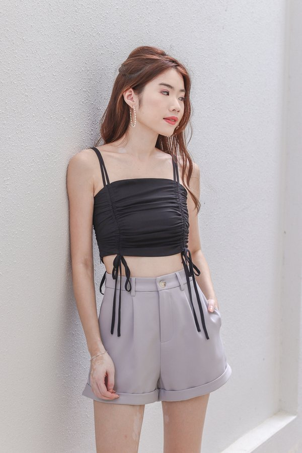 Hashy Ruched Crop Top in Black