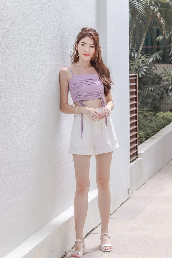 Hashy Ruched Crop Top in Lilac
