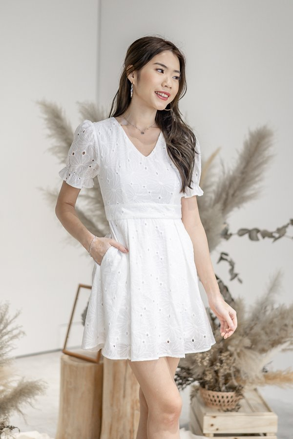 Eden Eyelet Cotton Dress in White