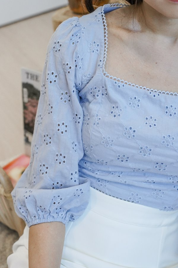 Iola Eyelet Cotton Top in Blue