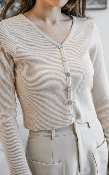 *BACKORDER* Zora Soft Knitted Cardigan with Seashell Buttons in Macaroon Cream